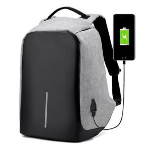 Black Gray Blue Business Student Waterproof Antitheft Laptop Backpack with USB Charging