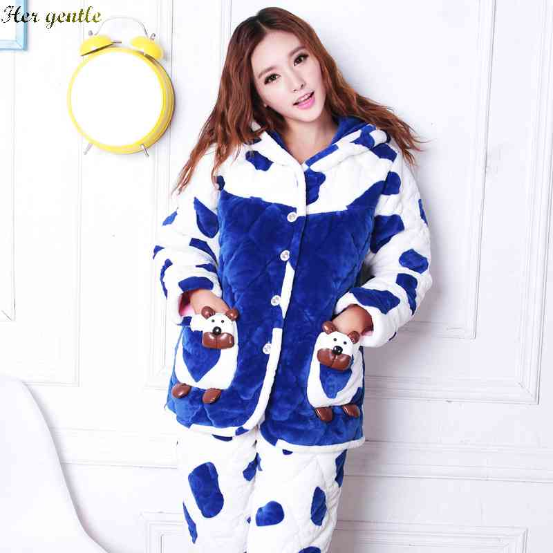 b78605a7b7 Get Quotations · Free Shipping Puning Pajamas thick cotton home flannel  clothing suits womens 1433824442