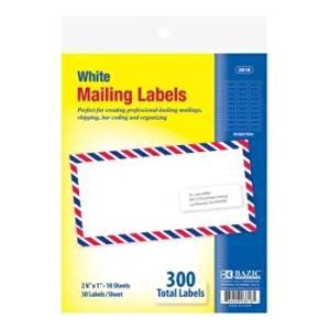 "Bazic 1"" X 2 5/8"" White Address Labels (24 Pieces) - Bazic 1"" X 2 5/8"" White Address Labels. Pack: 300 Compatible With Avery #5160/8460"