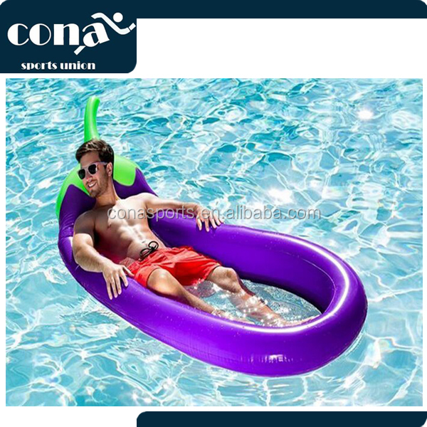 Inflatable Eggplant Pool Float Raft, Large Outdoor Swimming Pool Inflatable Float Toy Floatie Lounge Toy for Adults & Kids