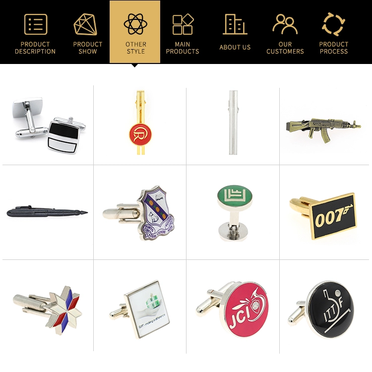 Hot selling brass material custom logo enamel cufflinks