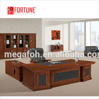 American classic style wooden l-shape office table executive office desk furniture for general manager (FOH-A0926)