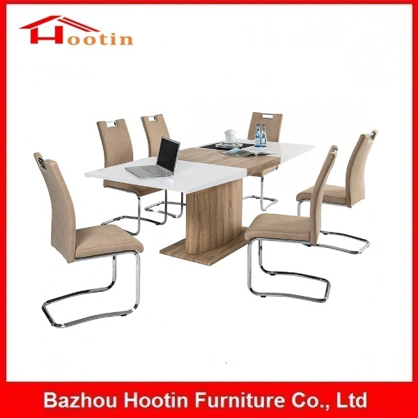Best Discount 6 Seats Wooden MDF Frame Paper Covered Dining Table With Chair