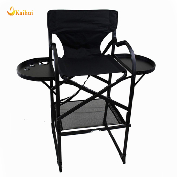 Large Folding Directors Chair with TWO Folding Tray Tables