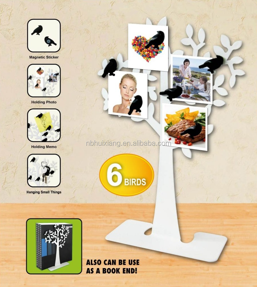 Spring series of metallic iron coating lobular tree + 6 ABS bird magnets, bookends, hanging jewelry, clamp, memo clip (medium)