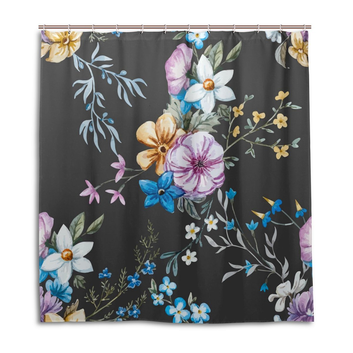 Buy JSTEL Decor Shower Curtain Leaf Flower Tropical Pattern Print ...