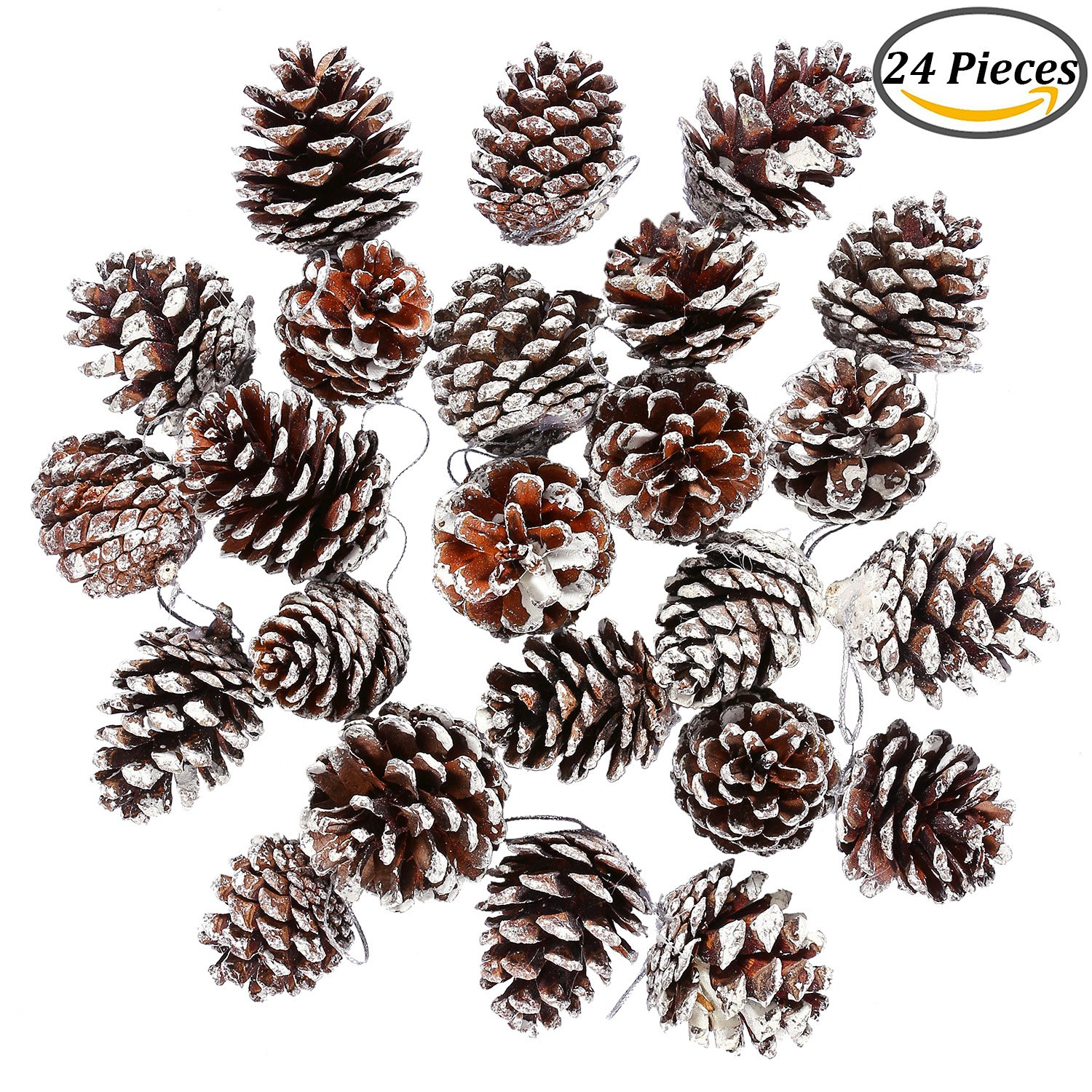 coobey 24 pieces christmas pine cones ornament natural pinecones with string pendant crafts for gift tag - Decorating Large Pine Cones For Christmas