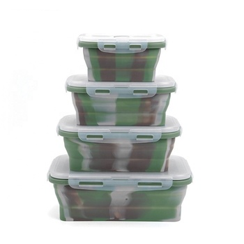 Funny Camo Collapsible Silicone Bento Lunch Box Set of 4pcs SW-KG402B
