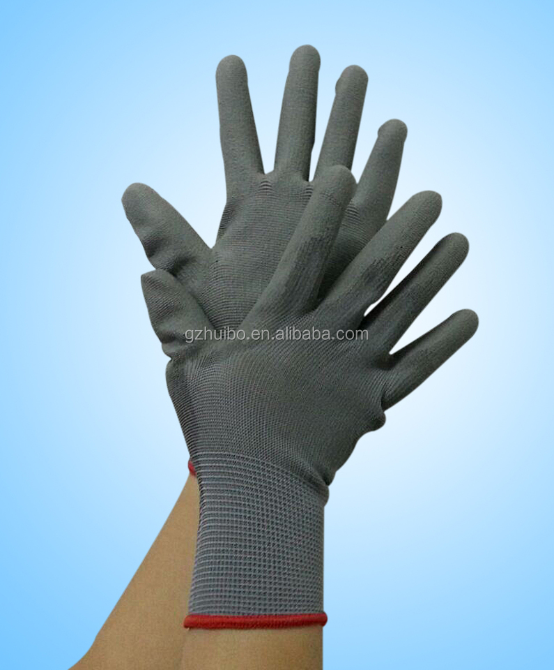 ESD PU Palm Fit Gloves,Carbon Fibre Gloves, antistatic gloves/esd grey gloves