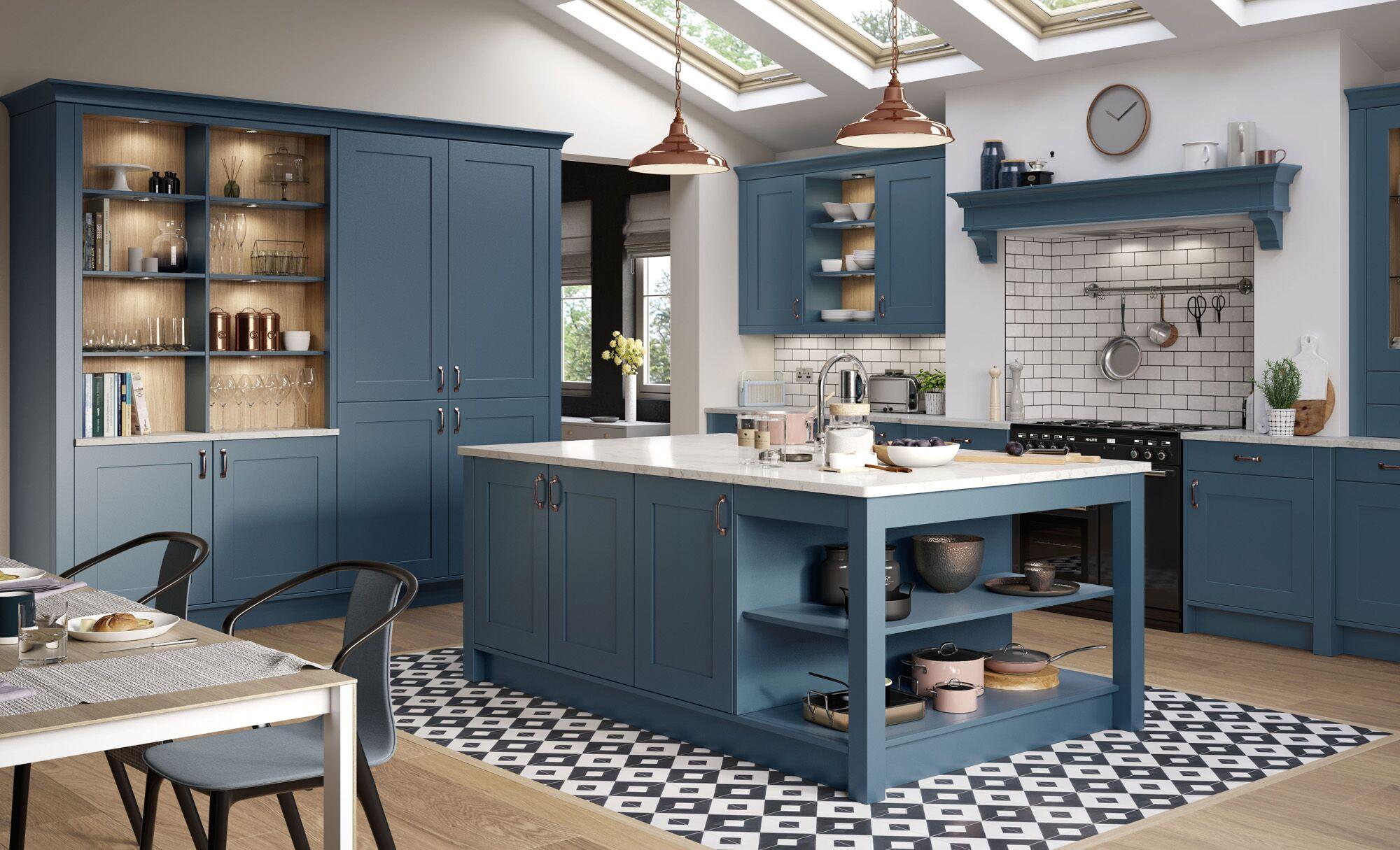 Modern Design Navy Blue Mdf Shaker Kitchen Cabinets Used