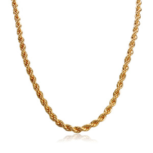 Latest simple long design link rope neck plated mens chain necklace 18k gold jewelry
