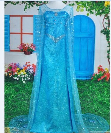 Large trailing dress costume cosplay dress for adult snow queen frozen princess elsa,shinning at the party