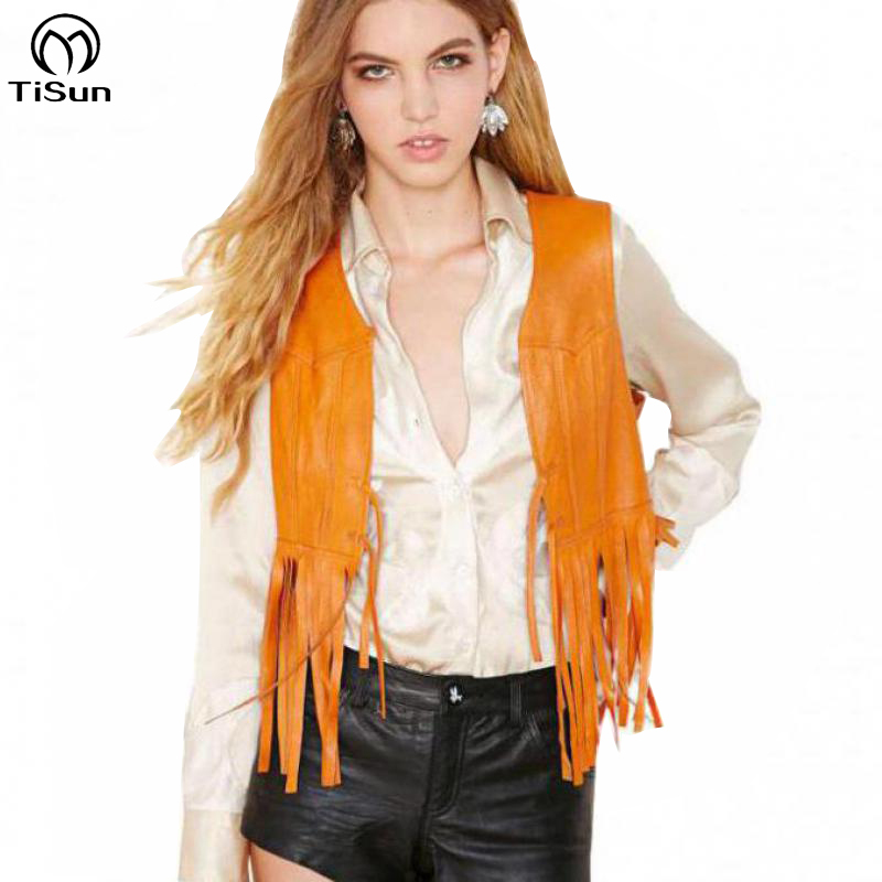 2015 Exclusive Retro Vintage Orange Tassel Vest Blazer Veste Femme Cuir Summer Style Fringe Yellow Leather Jacket
