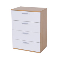 oak and white double color home storage cabinet chest of 4 drawer