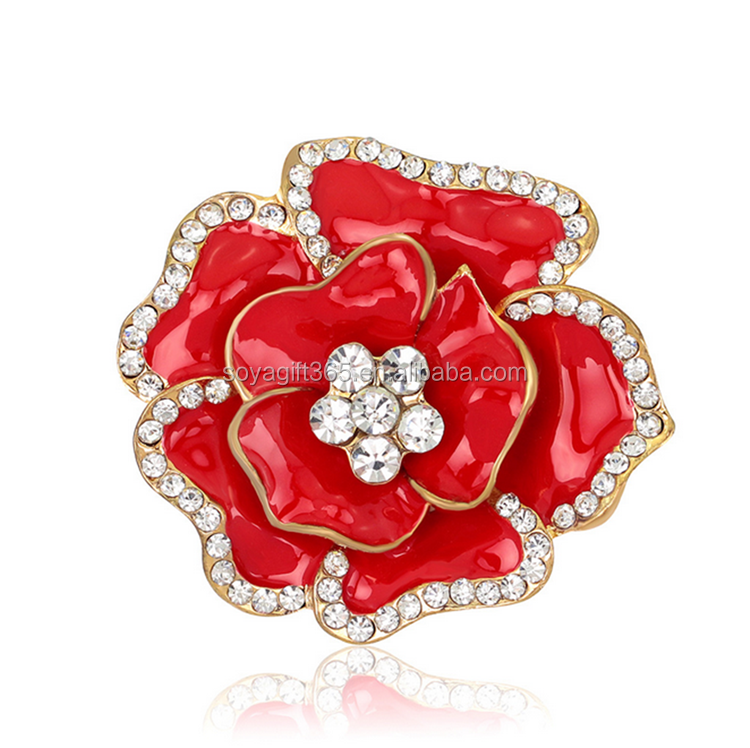 Drip Crystal Jewelry Vintage Rose Flower Varous Colors Women Brooches