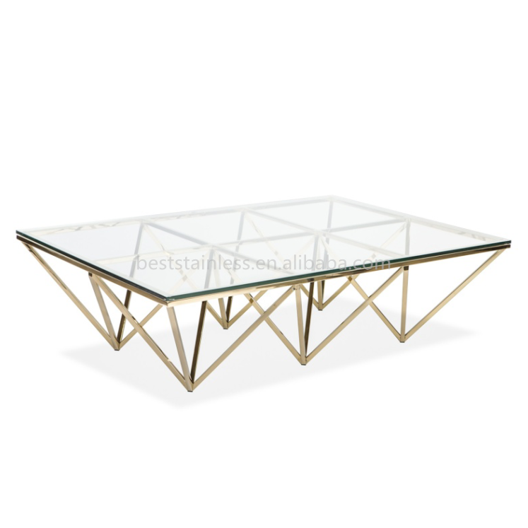 New Style Modern Square Glass Top Golden Coffee Table Buy