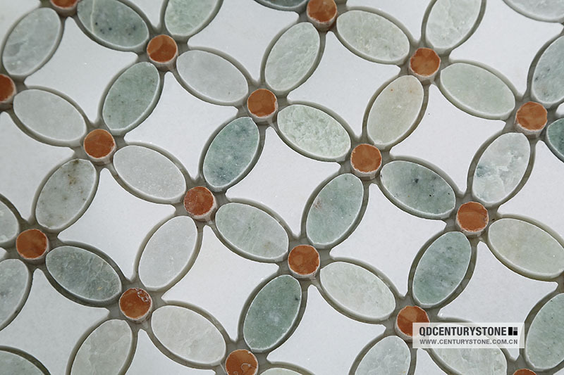 Wholesale Greece Thassos White And Green Marble Mosaic