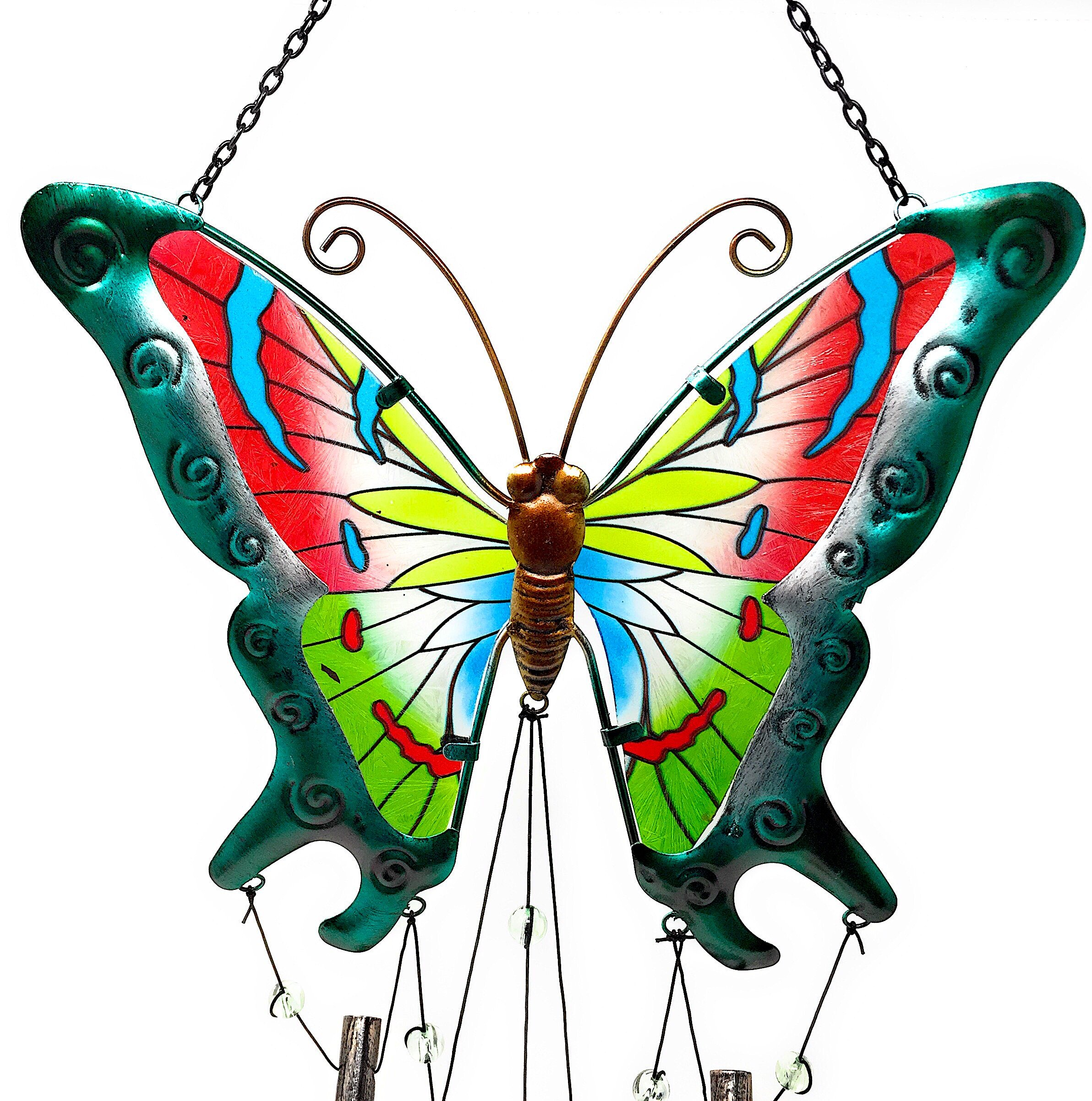 """Wind Chime Charm Butterfly Colorful Metal Glass for Indoor Outdoor 38"""" x 10"""" (Green)"""