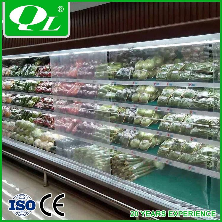Commercial air curtain vertical refrigerator 0-7 degree blast freezer cold room