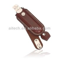 customizable leather shell snapper emboss logo usb flash drive