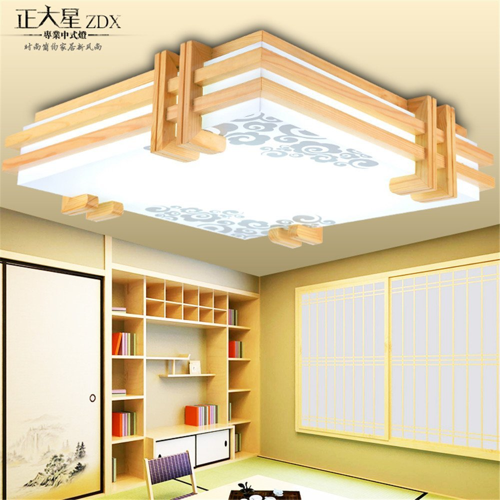 Modern LED Pendant Flush Mount Ceiling Fixtures Light Modern Chinese Ceiling Light Solid Wood led tatami lamp New Japanese Wood Ceiling Ceiling Ceiling, 550mm