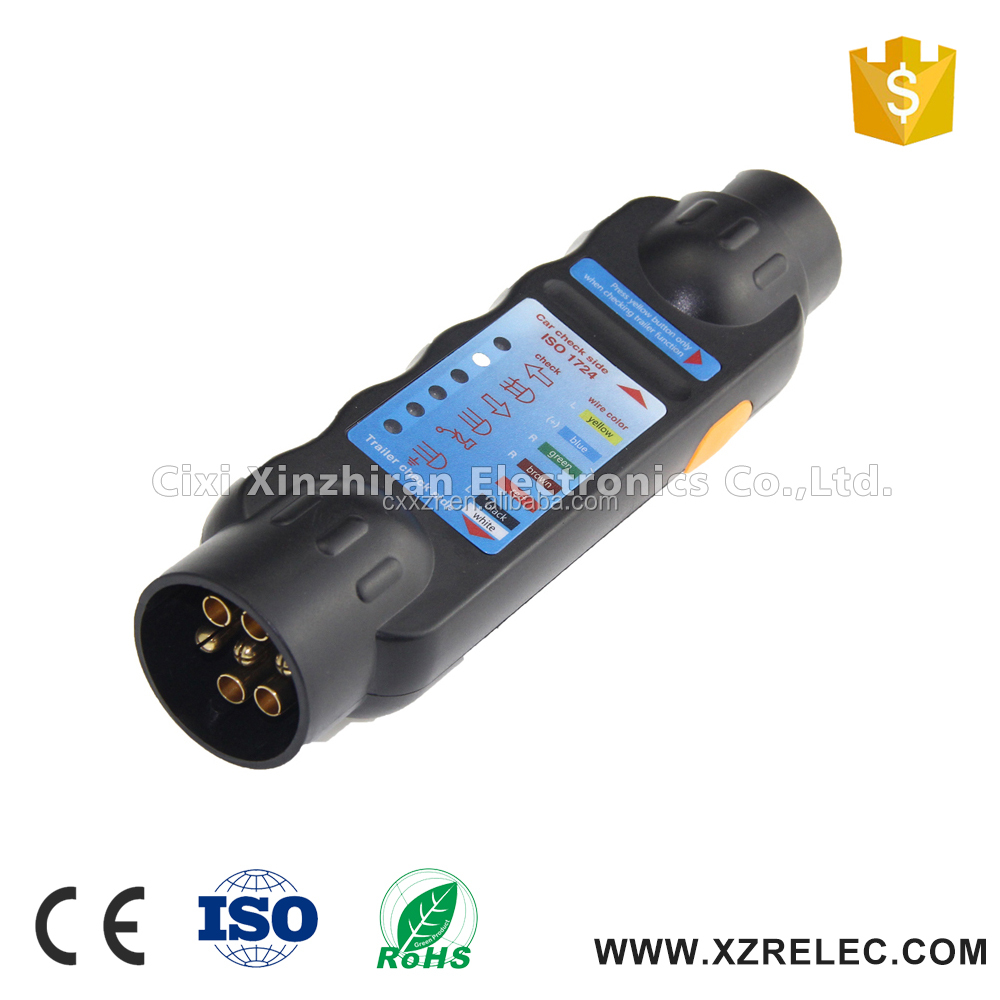 High quality 12v 7 pin or 13 pin socket and plug trailer connector tester