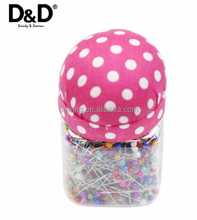 D&D Pink Fabric Pin Cushion Bottle with 500Pcs Pearl Needles Quilting Pins Wedding Decorating Tool Sewing Craft Kit