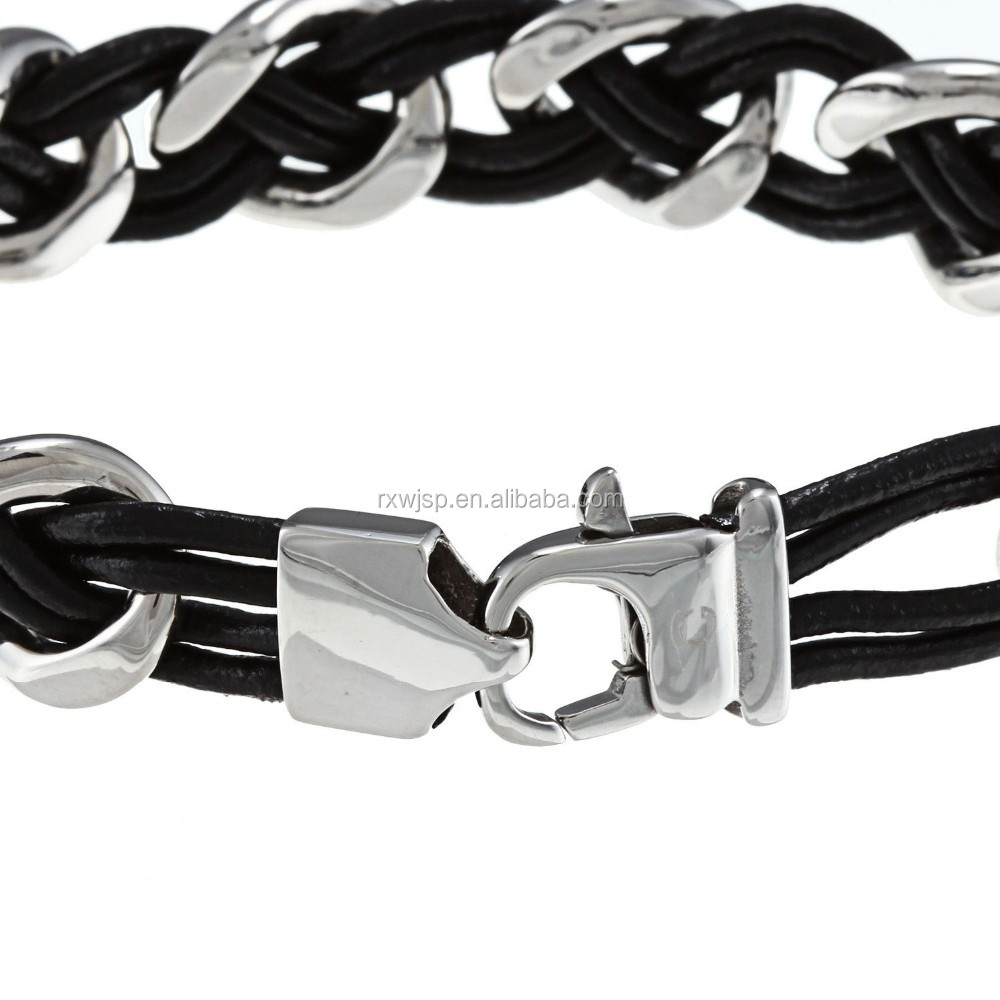 "new products High Polished Men's 8.5"" 316L Stainless Steel and Leather Woven Bracelet"