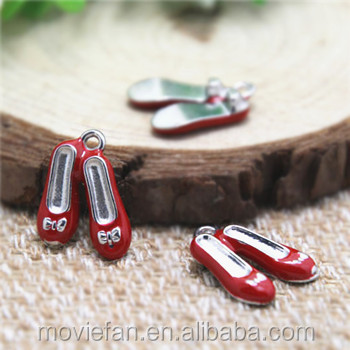 Red Shoe charms silver tone Enamel Red Shoe charms pendants 19X15mm