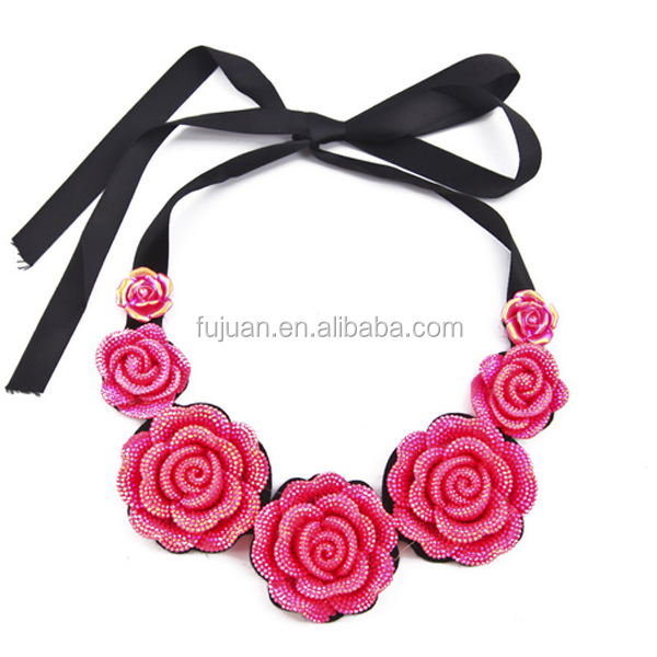 Fashion New Yiwu Jewelry Factory Resin Cloth Flower Choker Statement Necklaces