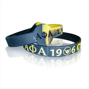 "2019 New product ""KAPPA ALPHA PSI "" debossed color filled in silicone bracelet"