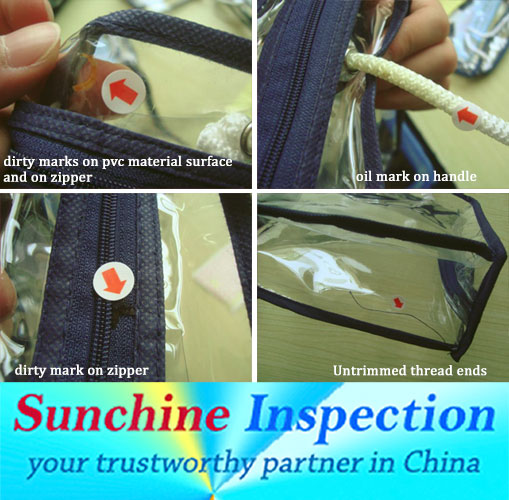 PVC packaging bag inspection service / products quality control in China