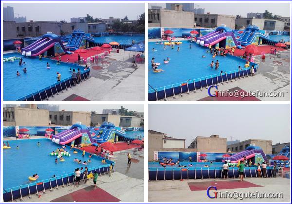 2015 Freestanding Backyard Above Ground Flooring Square Galvanized Steel Giant Swimming Pool