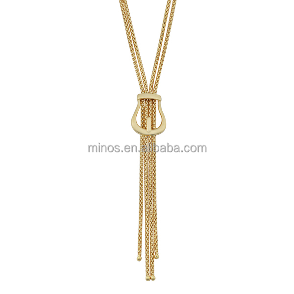 18k Yellow Gold Italian High Polish Buckle Double Strand Lariat Necklace