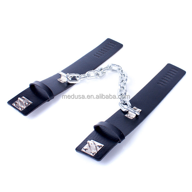 Heavy Leather Ankle Cuff S&M Bondage Straps Under Bed Restraint Fetish