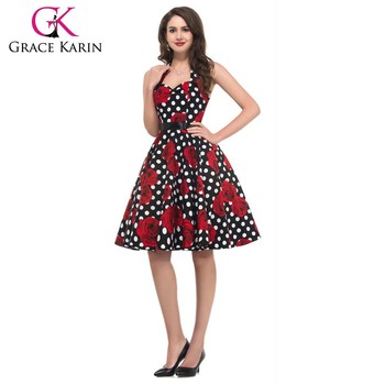 Grace Karin Halter Elastic Back Cotton Cheap Women Plus Size 50s