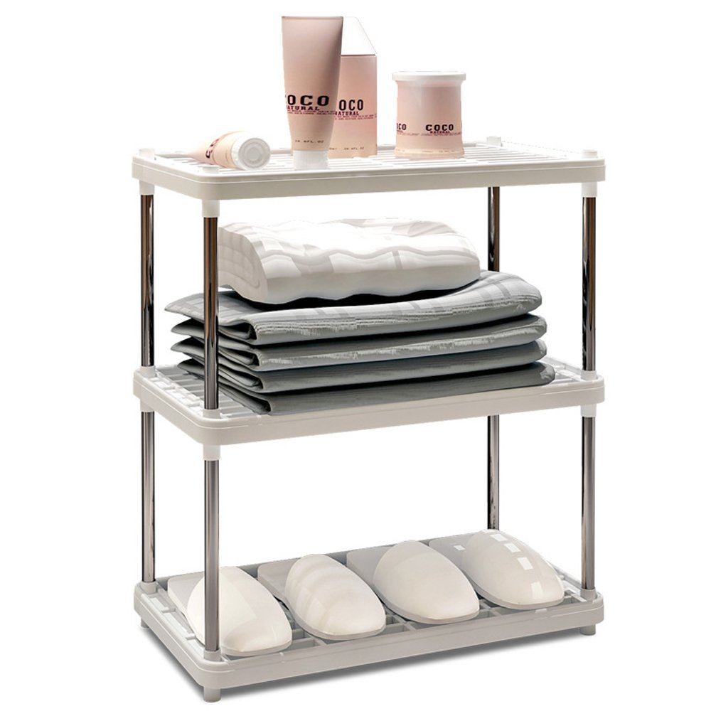 Storage Rack,AIYoo 3-Tier Stainless Steel Heavy Duty Storage Shelves Large Display Rack,Standing Shelving Units Bookshelf Kitchen Bathroom Organizer Shelf Storage Rack,White