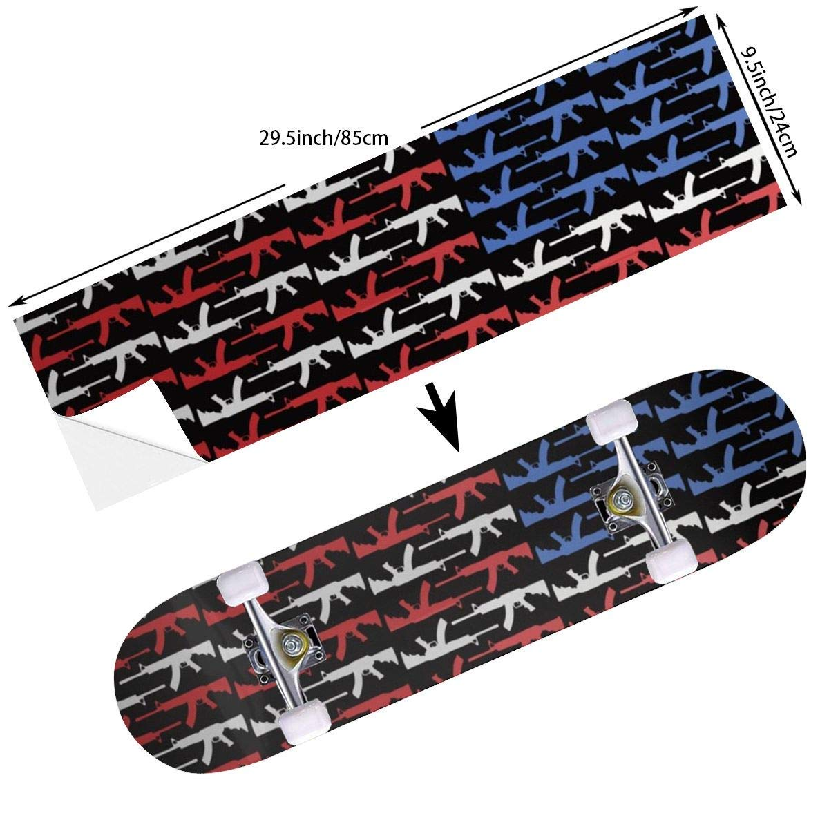 c69cc836a542 Get Quotations · DADAISM Personality American Flag Gun Type Skateboard Deck Grip  Tape - Skateistan Longboard Adhesive Griptape Sheet