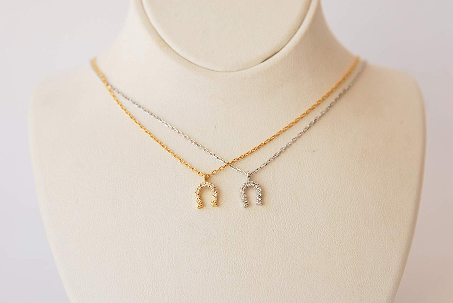 Jewels Obsession Horseshoe With Horse Necklace 14K Rose Gold-plated 925 Silver Horseshoe With Horse Pendant with 16 Necklace