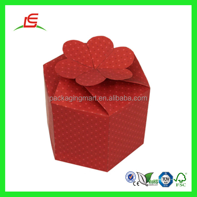 Q964 China Wholesale Mini Custom Hexagon Shape Gift Box With Flower