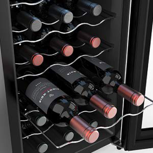 Counter Top Stainless Steel Frame 20 Bottles Thermoelectric Small Wine Cellar and Cooler Fridge with Tempered Glass Door