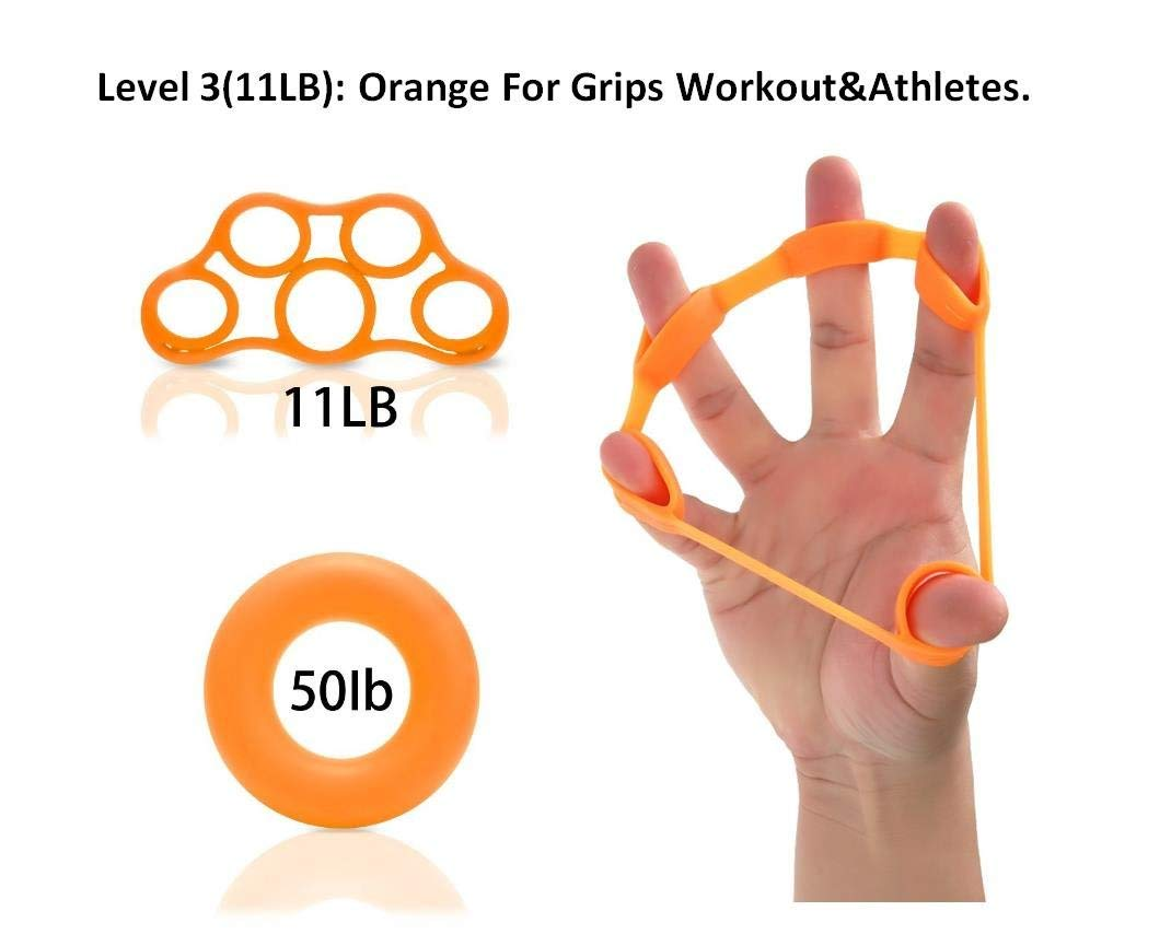 Lelefish Hand Strengthener Finger Stretcher Hand Resistance Bands Hand Extensor Set Silicone Hand Grip Trainer Rings Finger Exerciser Workout, 2Pcs Included (Level 3(11LB))