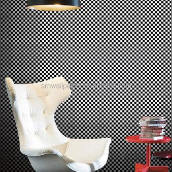 Nouveau Design Italien En Relief Noir Et Blanc Vinyle Papier Peint
