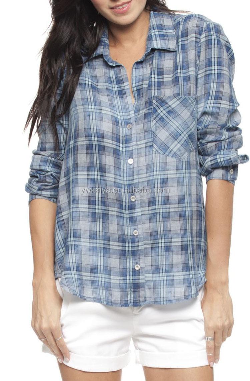 Shirt new design 2015 - 2015 Latest Girls Blouse Designs Women Shirts New York Casual Style Fashion Plaid