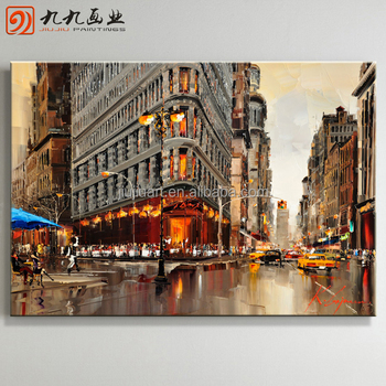 Wholesale Handmade canvas scene oil Paintings street scene oil painting