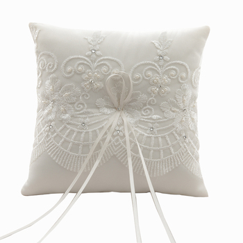 R0411 White Wedding Ring Bearer Pillow