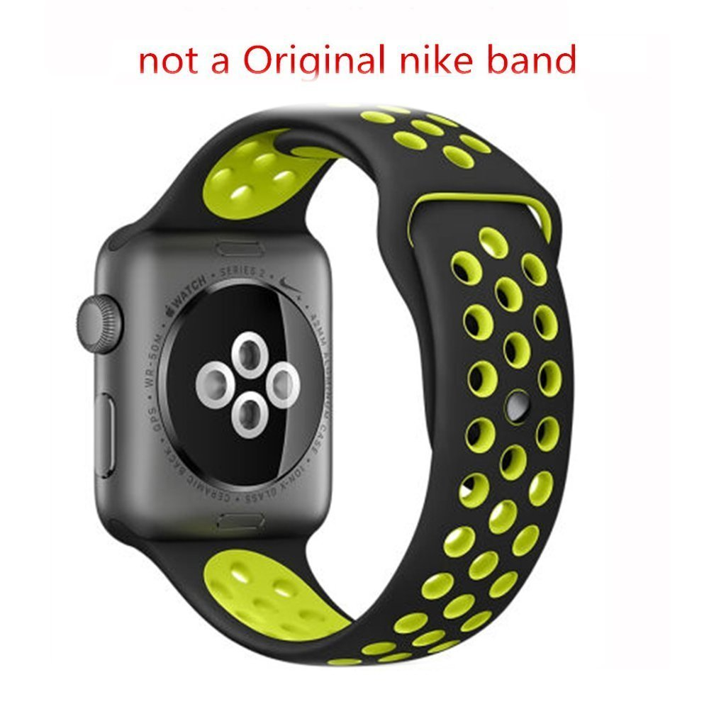 Apple Watch Band, IYELLOW Soft Silicone Sports Replacement with Ventilation Holes 42mm Nike Sport Band for 2016 New Apple Series 2 Sport Watch iWatch (42MM -- Black / Volt Yellow)