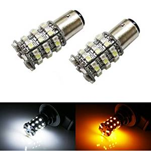 iJDMTOY 60-SMD-3528 White/Amber 1157 2357 7528 Switchback LED Bulbs For Turn Signal Lights