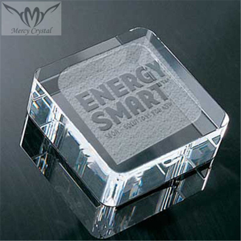 Crystal Glass Rounded Square Paperweight for Promotion Business Gifts