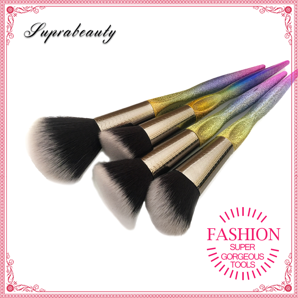 New Unicorn Style 4pcs Cosmetic brush Plastic Handle Private Label Rainbow Makeup Brush Set